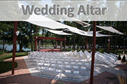 Outdoor Riverside Wedding Altar at Celebrations on the River La Crosse, WI. Outdoor Riverside Wedding Ceremony