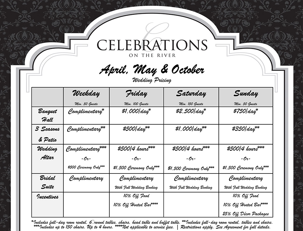 April, May, October Wedding Pricing at Celebrations on the River La Crosse, WI